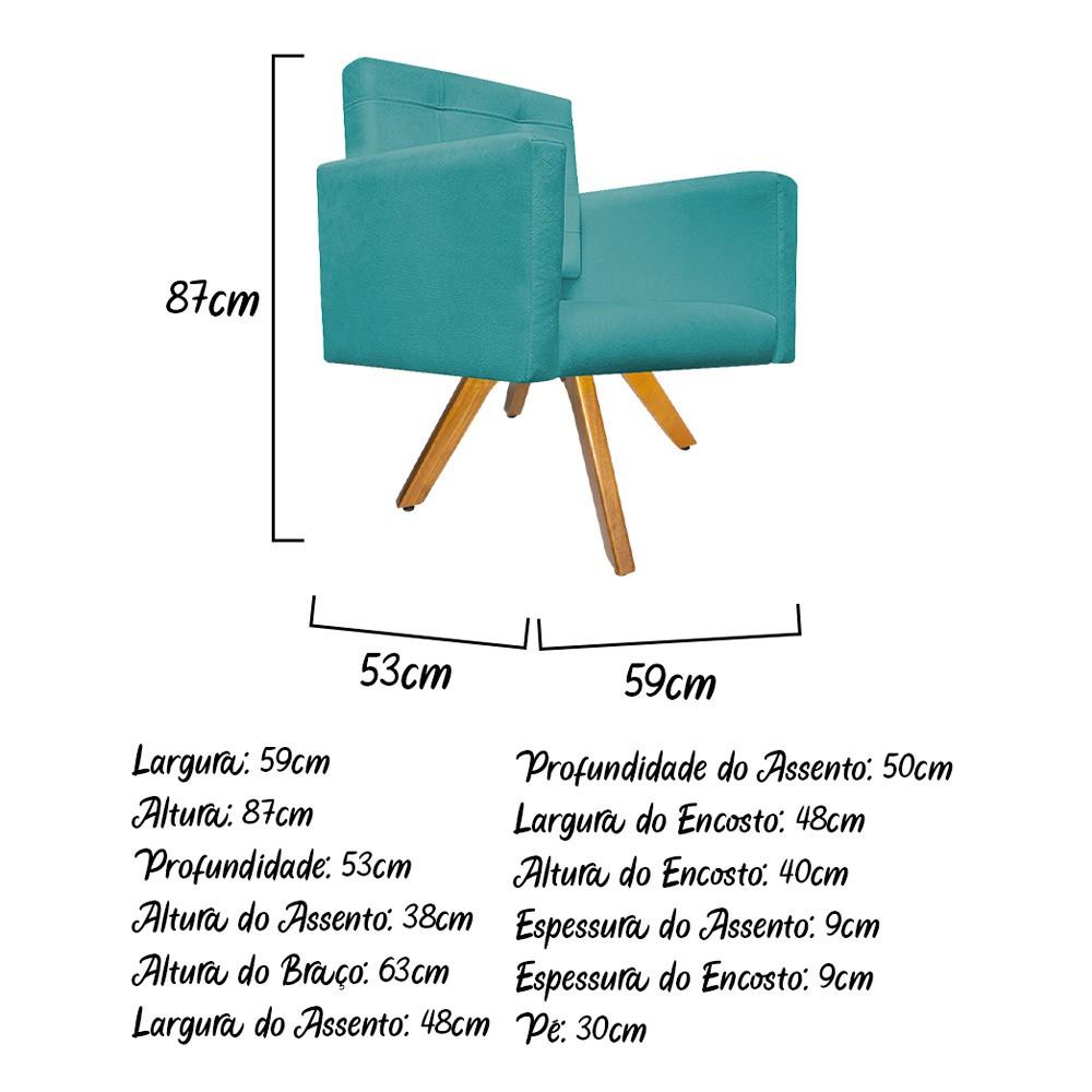 kit 02 Poltronas Gênesis Base Giratória de Madeira Suede Azul Turquesa - Doce Sonho Móveis
