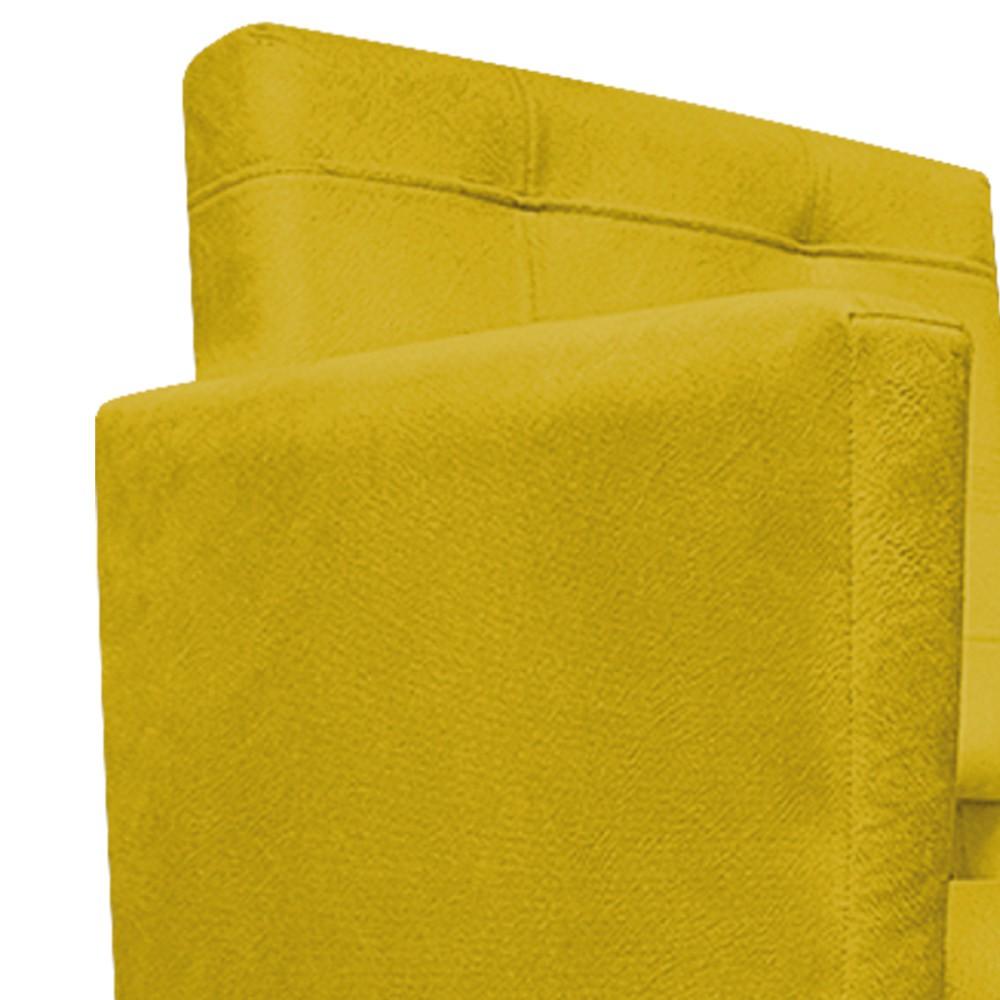 kit 02 Poltronas Gênesis Palito Tabaco Suede Amarelo - Doce Sonho Móveis