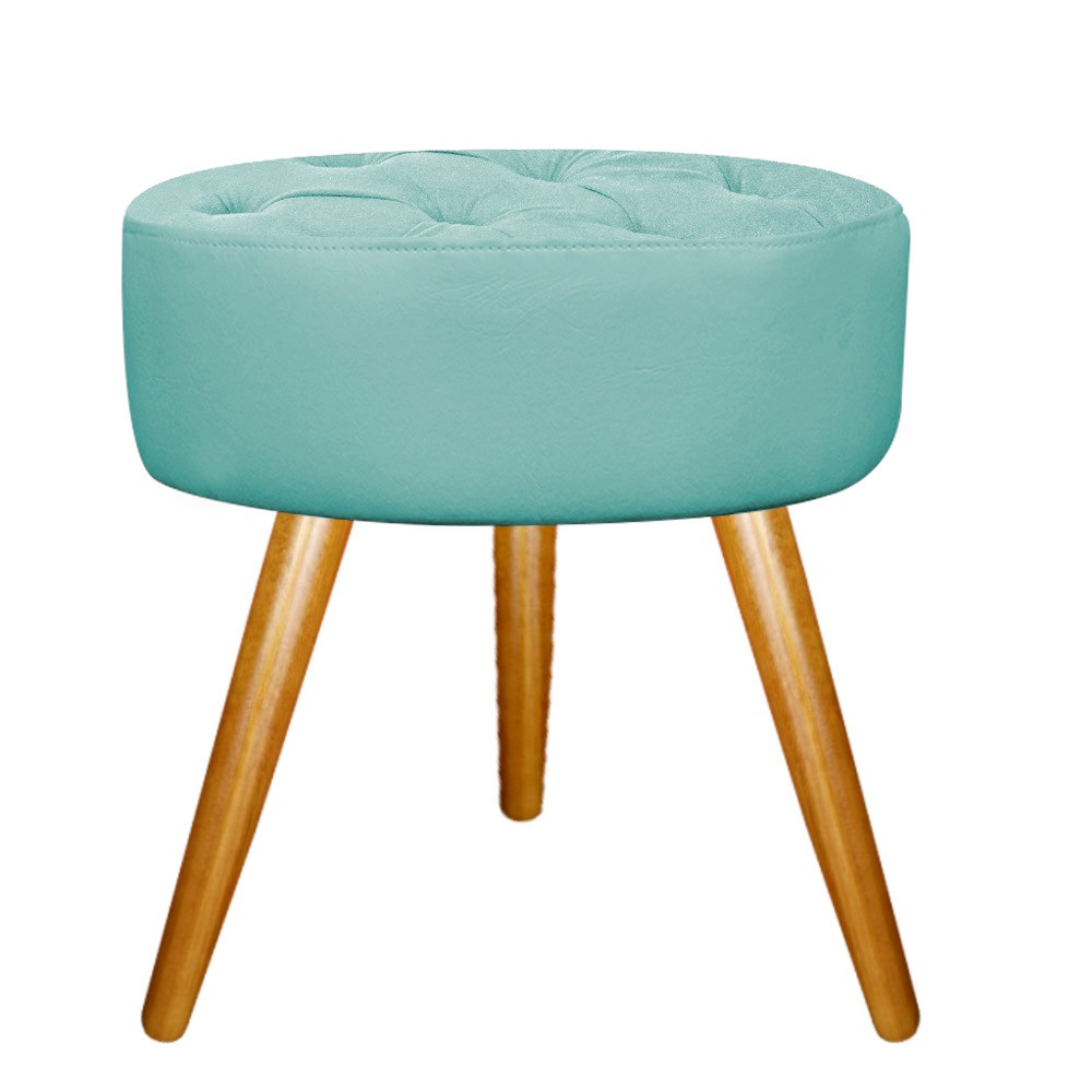 Kit 02 Puffs Fernanda Palito Mel Suede Azul Tiffany - Doce Sonho Móveis