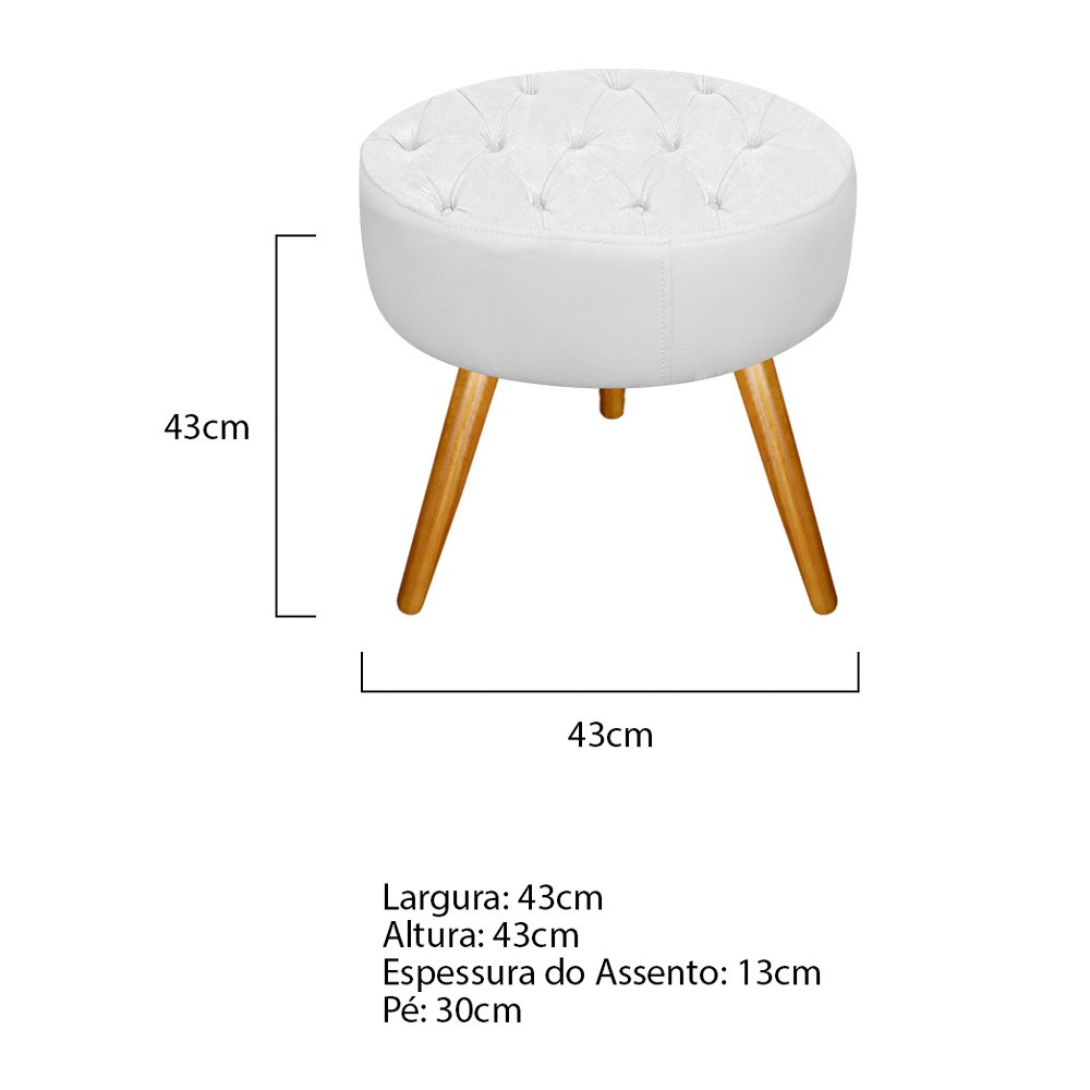 Kit 02 Puffs Fernanda Palito Mel Suede Branco - Doce Sonho Móveis