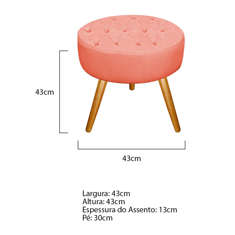 Kit 02 Puffs Fernanda Palito Mel Suede Coral - Doce Sonho Móveis