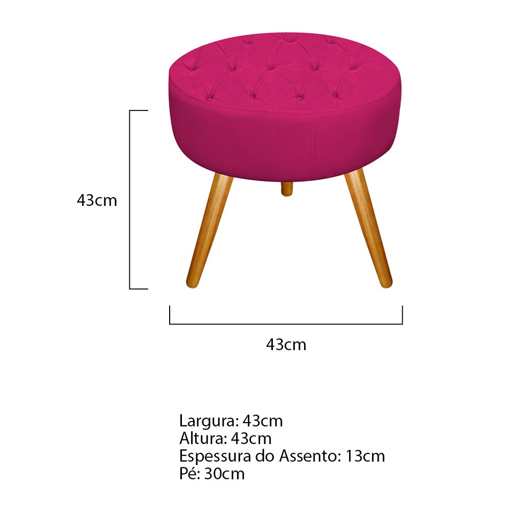 Kit 02 Puffs Fernanda Palito Mel Suede Pink - Doce Sonho Móveis
