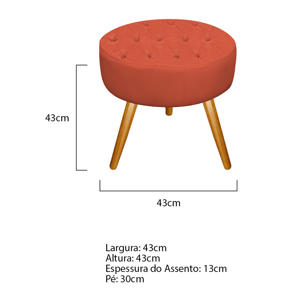 Kit 02 Puffs Fernanda Palito Mel Suede Terracota - Doce Sonho Móveis