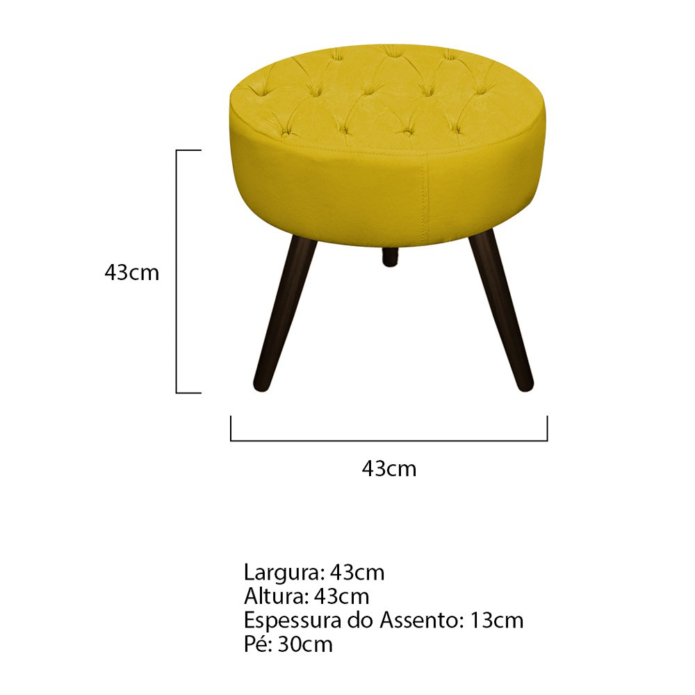 Kit 02 Puffs Fernanda Palito Tabaco  Suede Amarelo - Doce Sonho Móveis