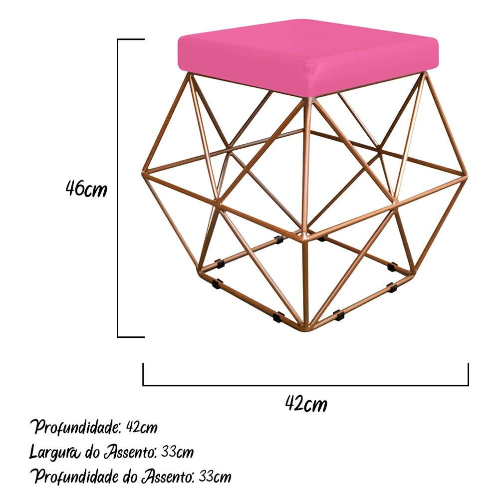 Kit 02 Puffs Quadrado Aramado Elsa Corano Pink - Doce Sonho Móveis