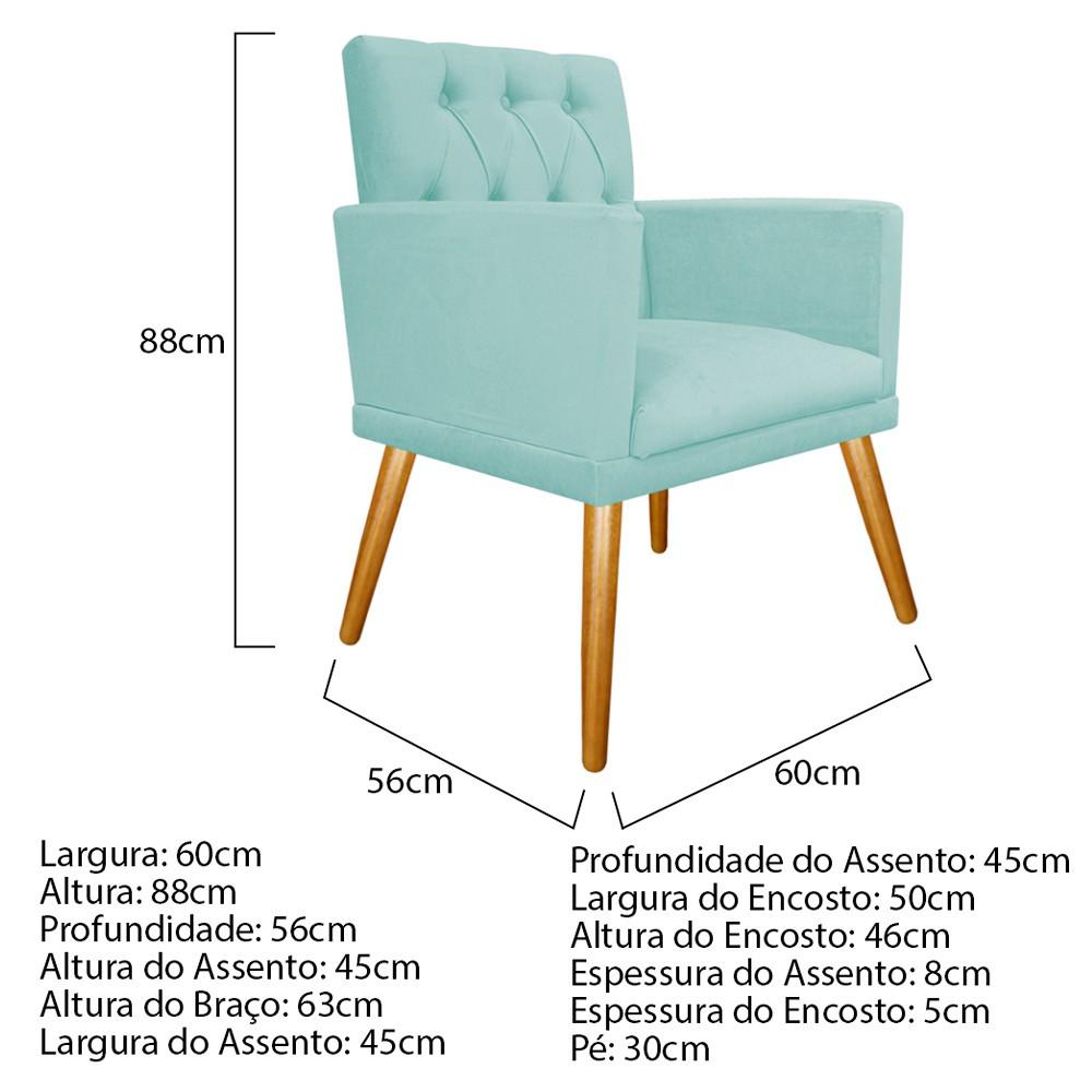 kit 03 Poltronas Fernanda Palito Mel Suede Azul Tiffany - Doce Sonho Móveis