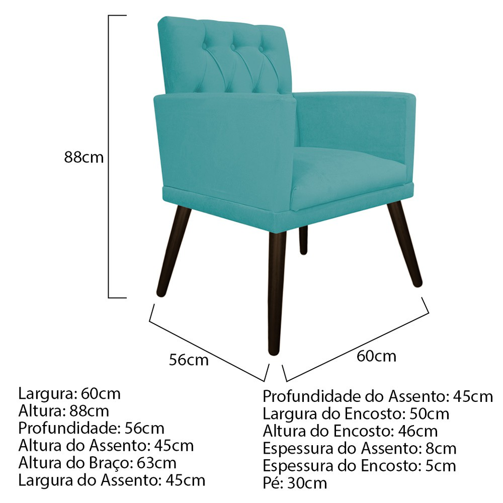 kit 03 Poltronas Fernanda Palito Tabaco Suede Azul Turquesa - Doce Sonho Móveis