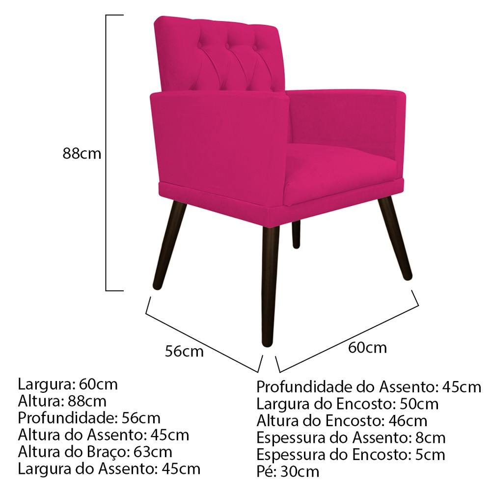 kit 03 Poltronas Fernanda Palito Tabaco Suede Pink - Doce Sonho Móveis