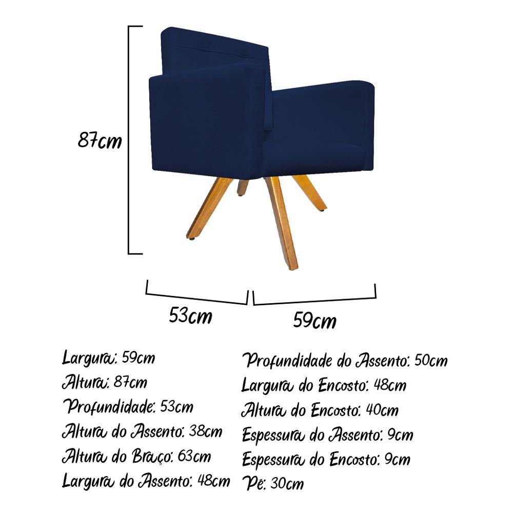 kit 03 Poltronas Gênesis Base Giratória de Madeira Suede Azul Marinho - Doce Sonho Móveis