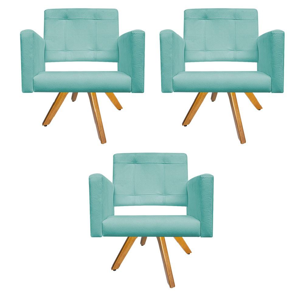 kit 03 Poltronas Gênesis Base Giratória de Madeira Suede Azul Tiffany - Doce Sonho Móveis