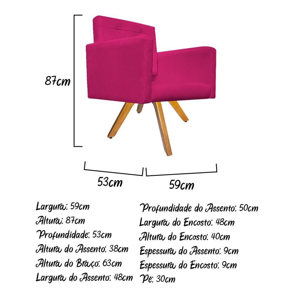 kit 03 Poltronas Gênesis Base Giratória de Madeira Suede Pink - Doce Sonho Móveis