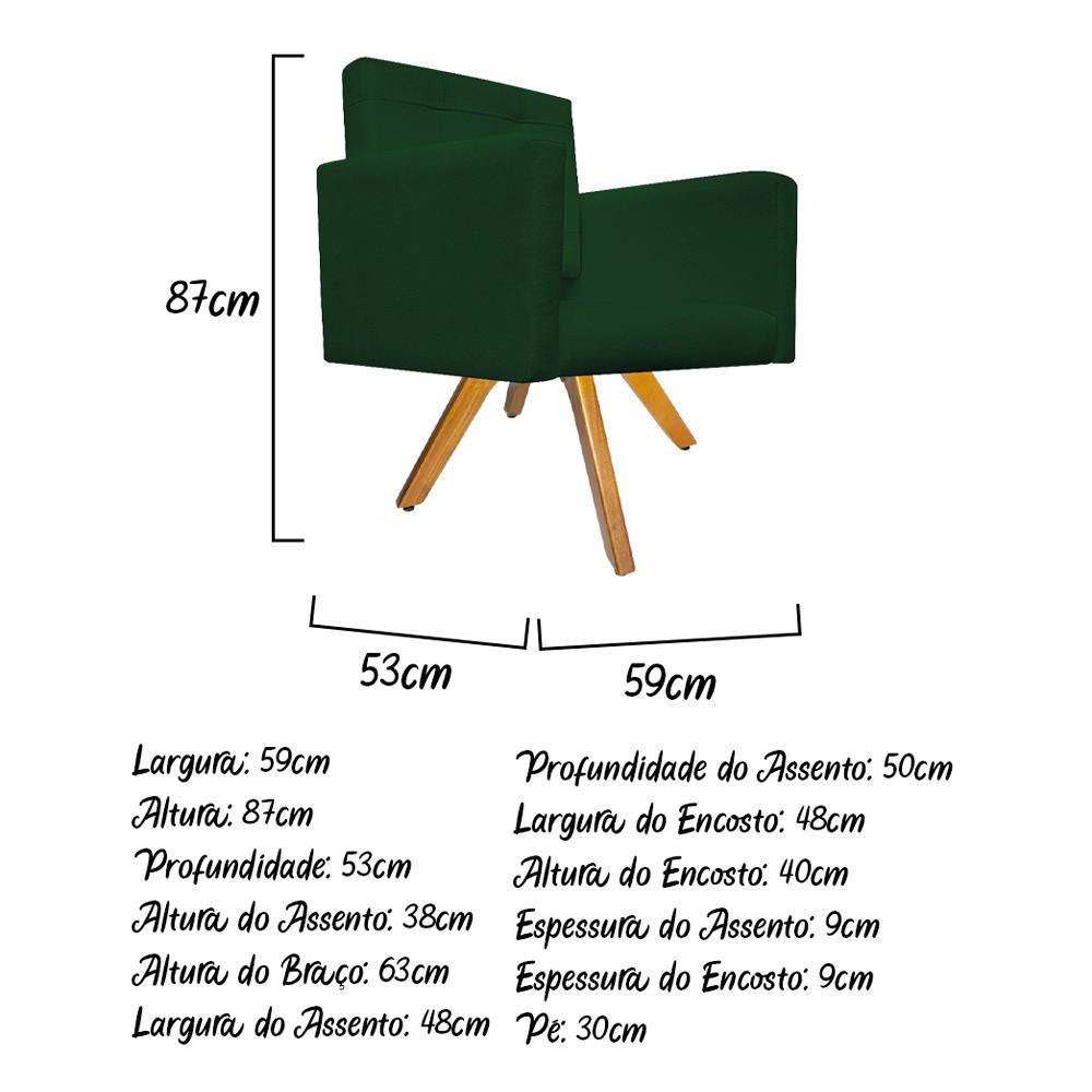 kit 03 Poltronas Gênesis Base Giratória de Madeira Suede Verde - Doce Sonho Móveis