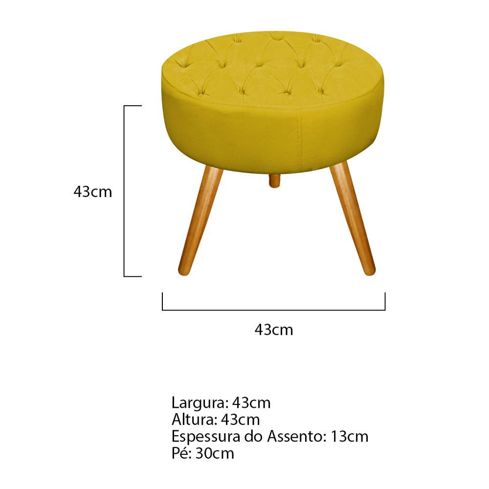 Kit 03 Puffs Fernanda Palito Mel  Suede Amarelo - Doce Sonho Móveis