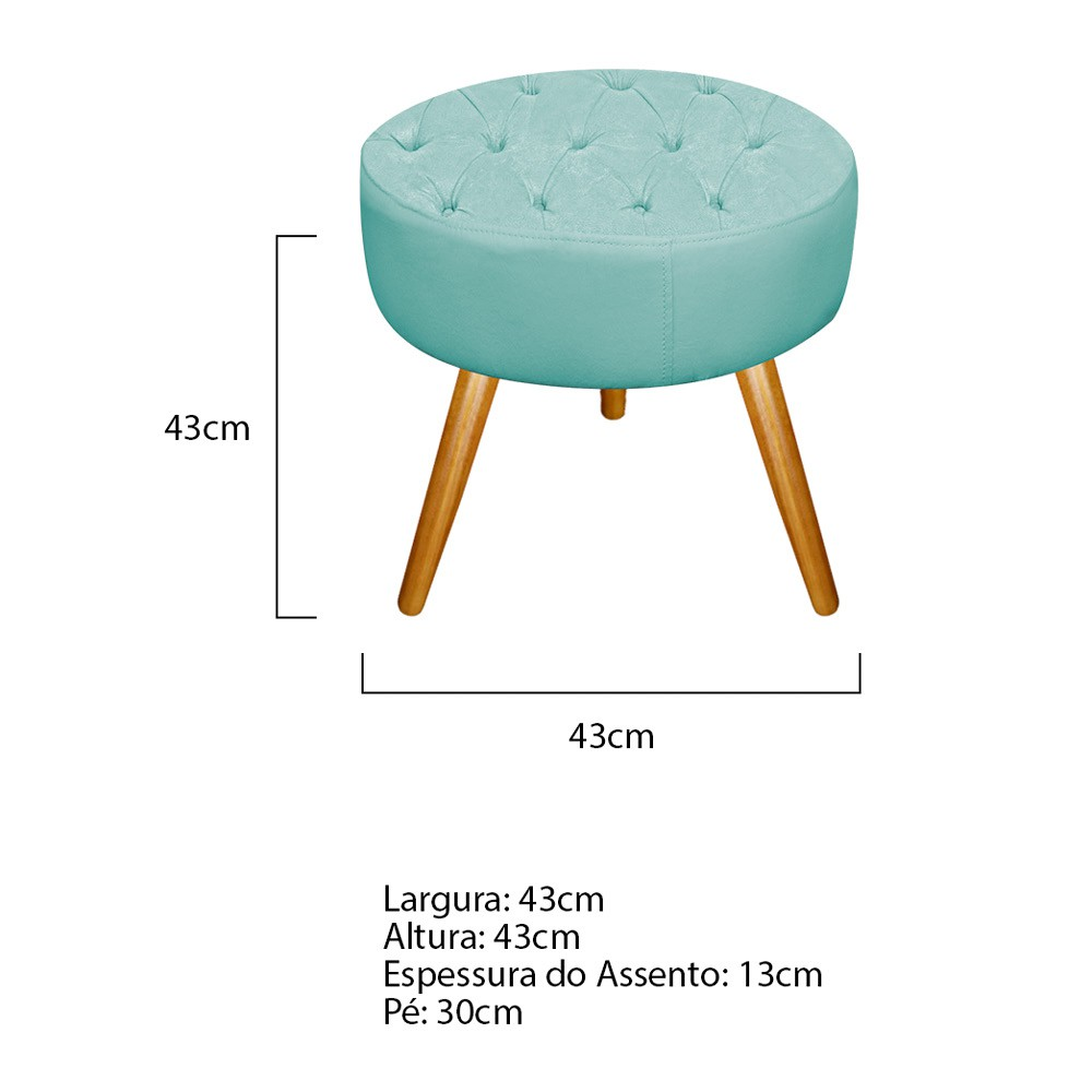 Kit 03 Puffs Fernanda Palito Mel Suede Azul Tiffany - Doce Sonho Móveis