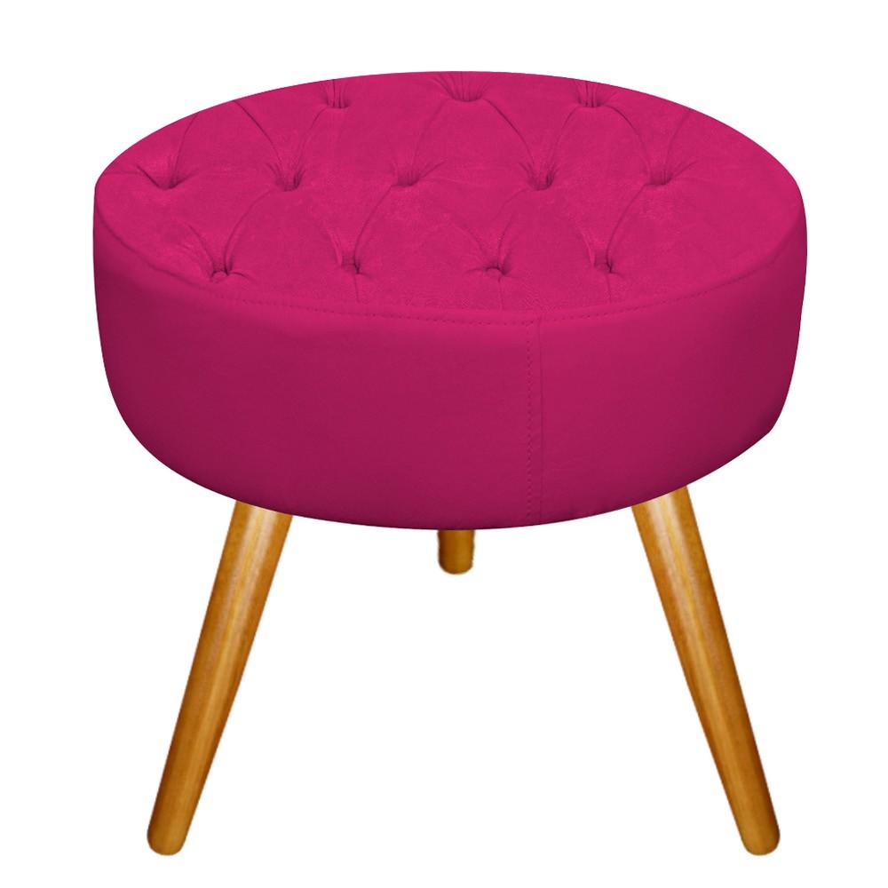 Kit 03 Puffs Fernanda Palito Mel Suede Pink - Doce Sonho Móveis