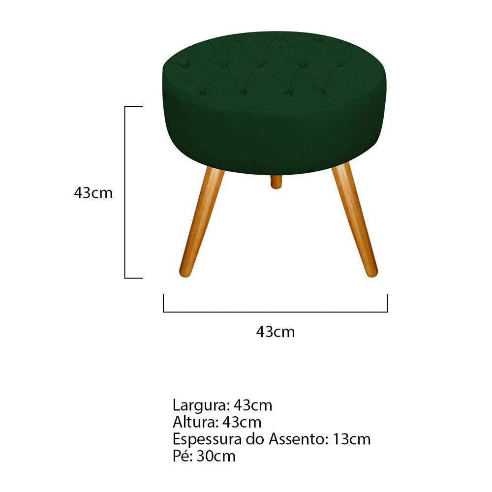 Kit 03 Puffs Fernanda Palito Mel Suede Verde - Doce Sonho Móveis
