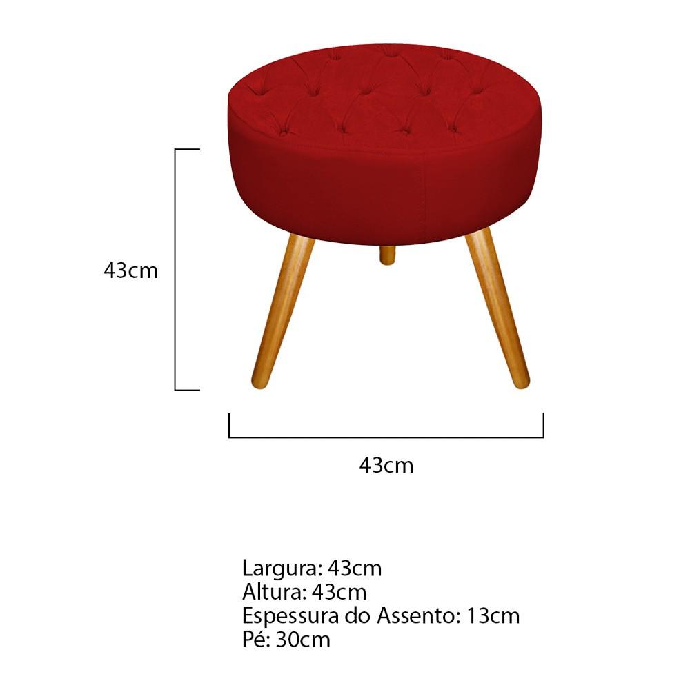 Kit 03 Puffs Fernanda Palito Mel Suede Vermelho - Doce Sonho Móveis