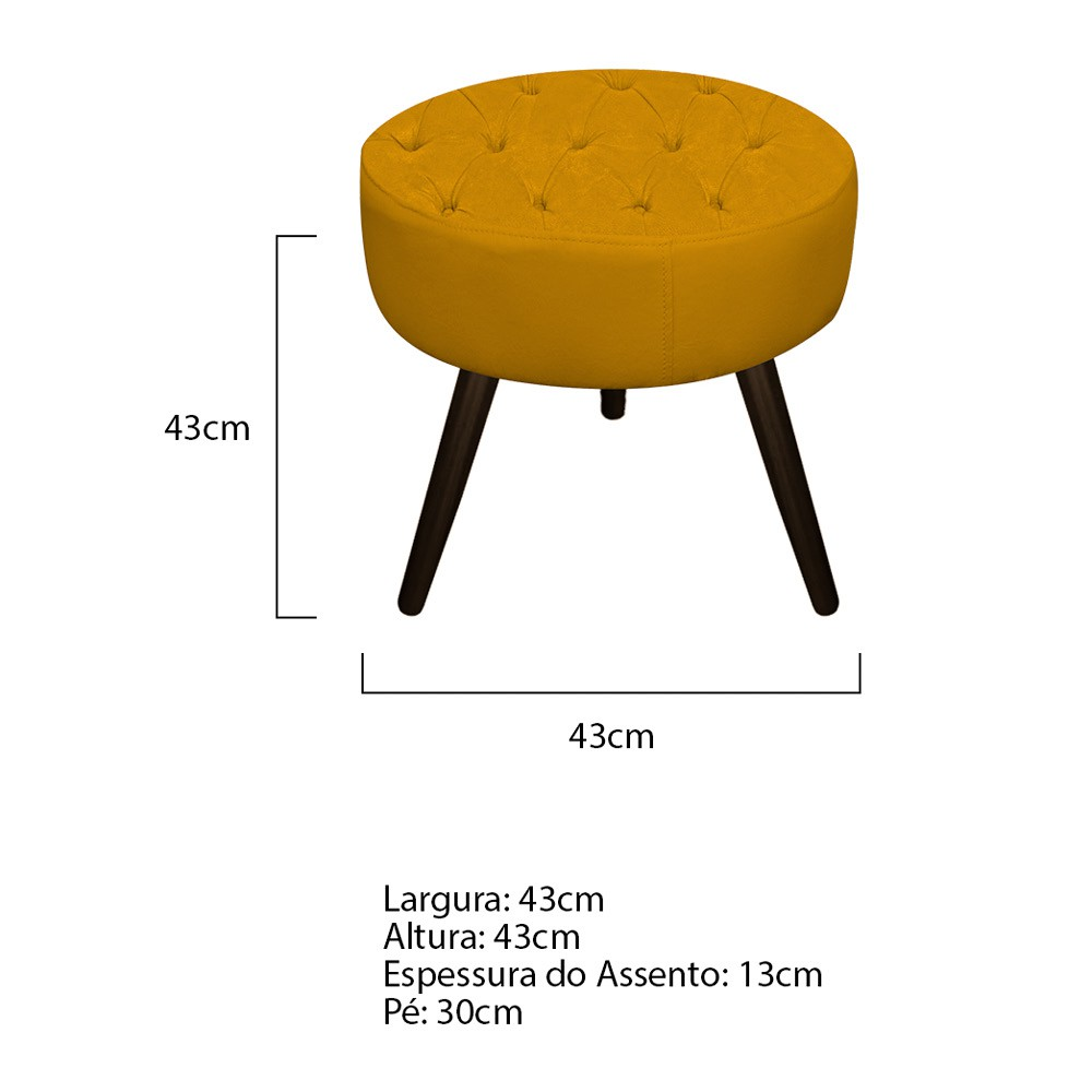 Kit 03 Puffs Fernanda Palito Tabaco Suede Mostarda - Doce Sonho Móveis