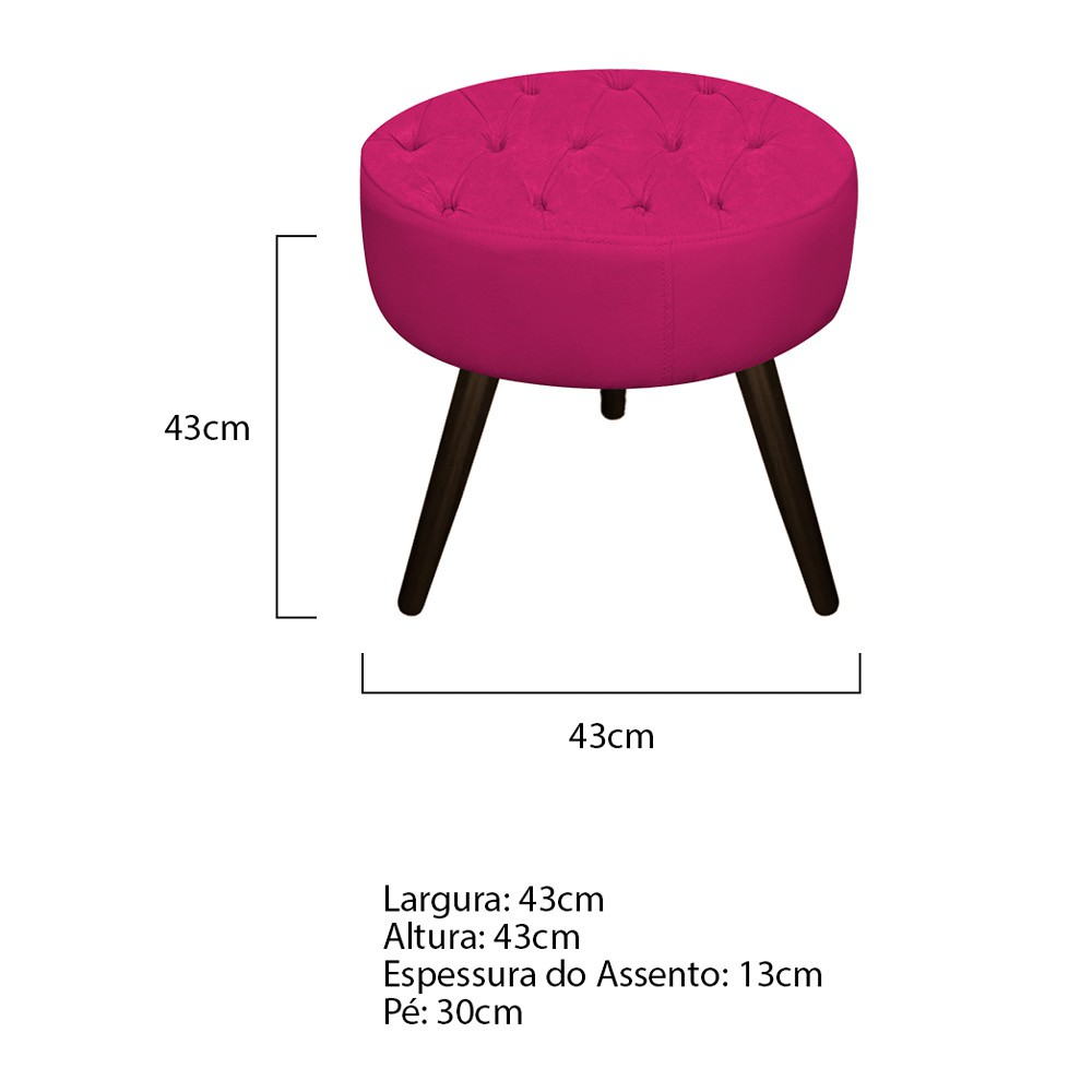 Kit 03 Puffs Fernanda Palito Tabaco Suede Pink - Doce Sonho Móveis