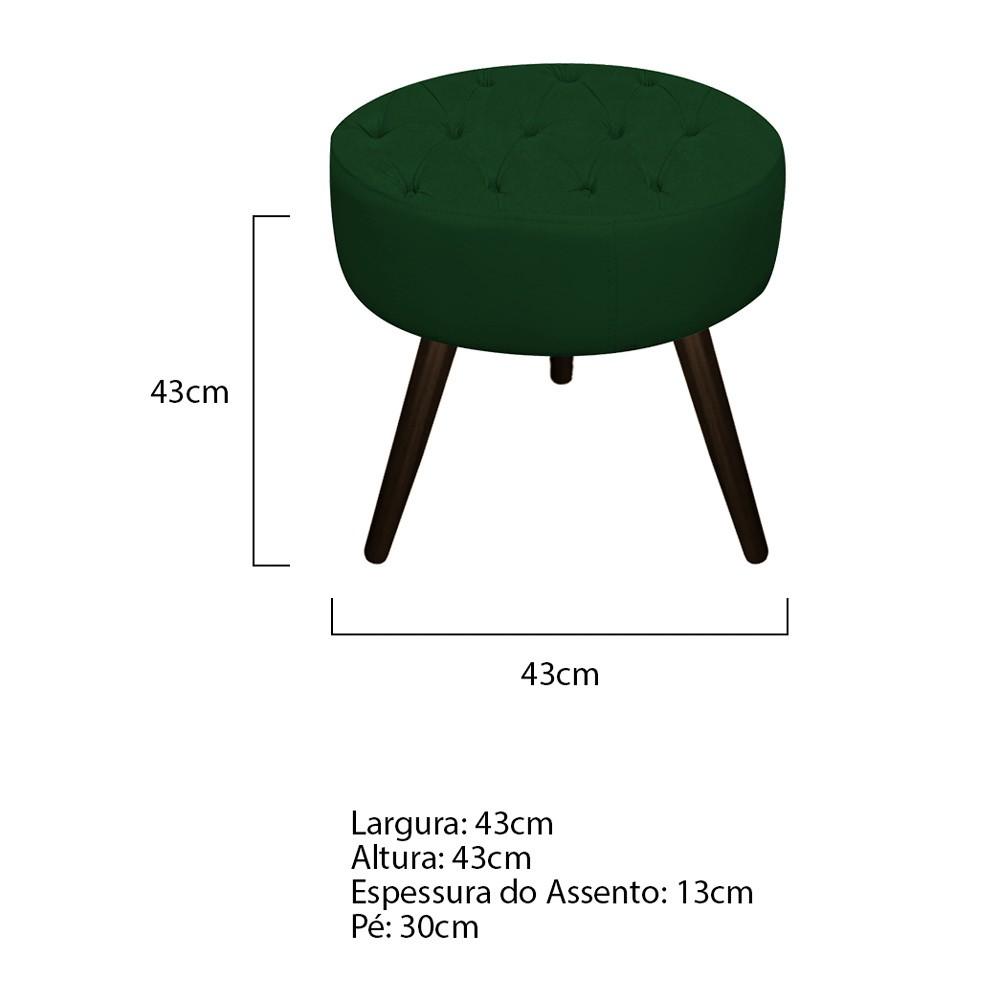 Kit 03 Puffs Fernanda Palito Tabaco Suede Verde - Doce Sonho Móveis