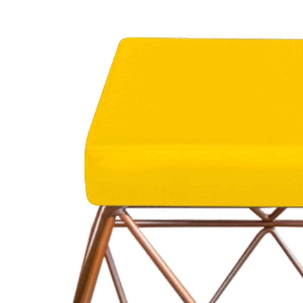 Kit 03 Puffs Quadrado Aramado Elsa Corano Amarelo - Doce Sonho Móveis