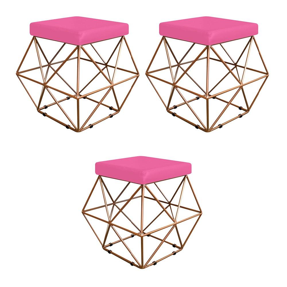 Kit 03 Puffs Quadrado Aramado Elsa Corano Pink - Doce Sonho Móveis
