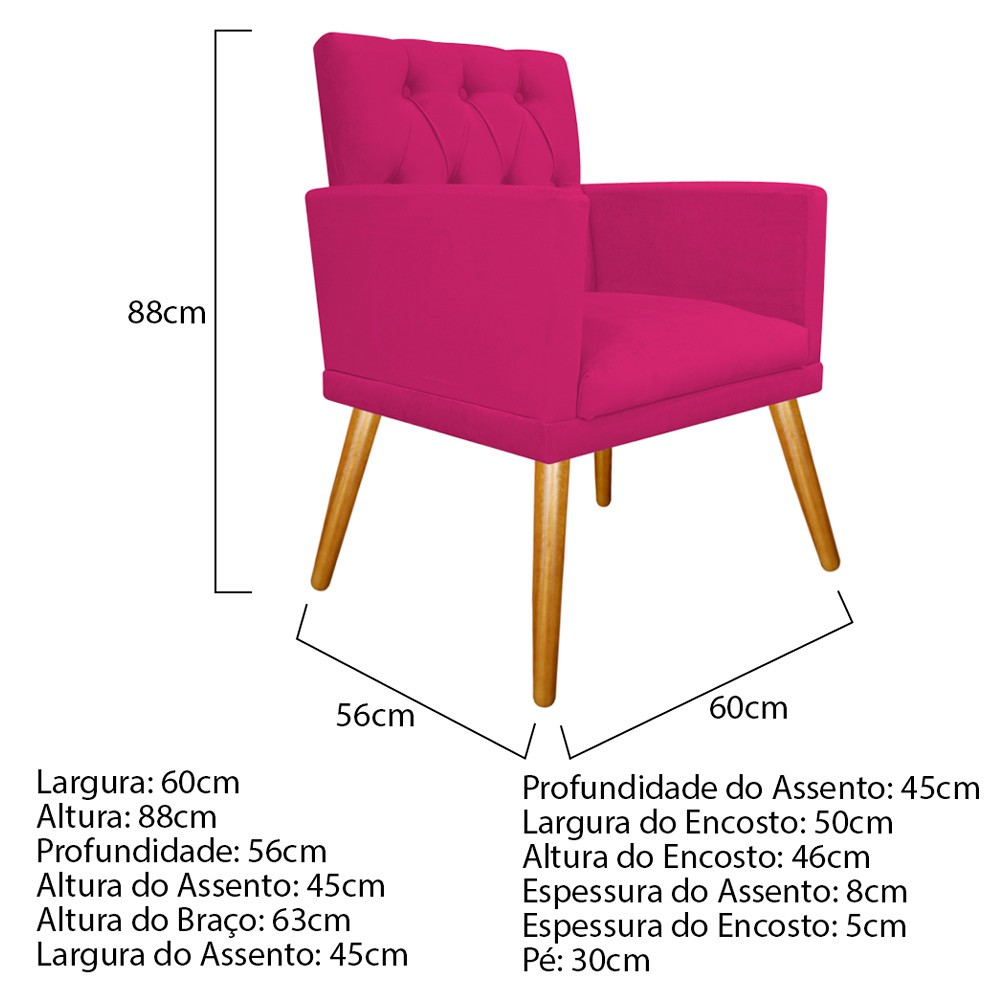 kit 04 Poltronas Fernanda Palito Mel Suede Pink - Doce Sonho Móveis