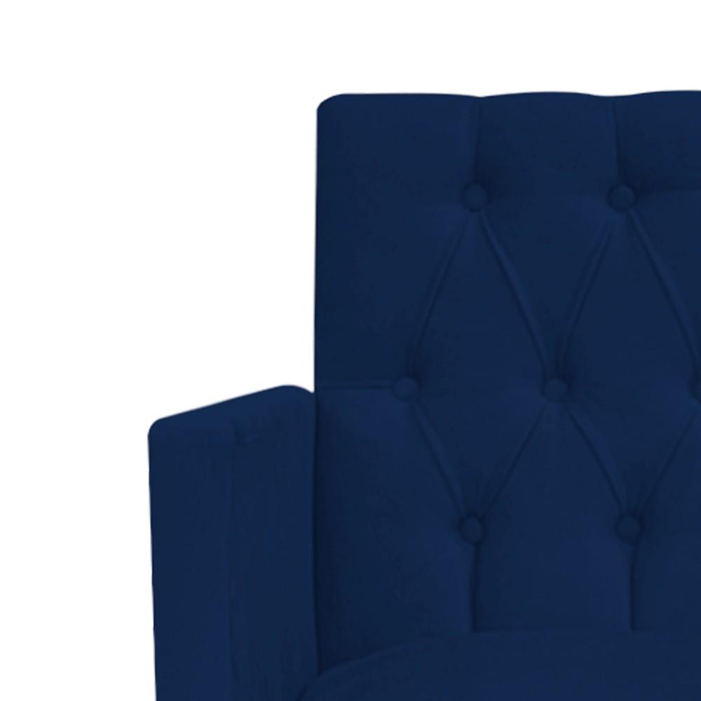kit 04 Poltronas Fernanda Palito Tabaco Suede Azul Marinho - Doce Sonho Móveis