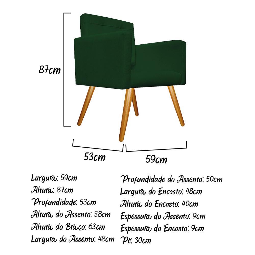 kit 04 Poltronas Gênesis Palito Mel Suede Verde - Doce Sonho Móveis