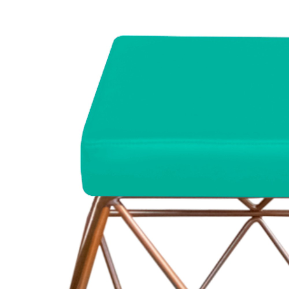 Kit 04 Puffs Quadrado Aramado Elsa Corano Azul Turquesa - Doce Sonho Móveis