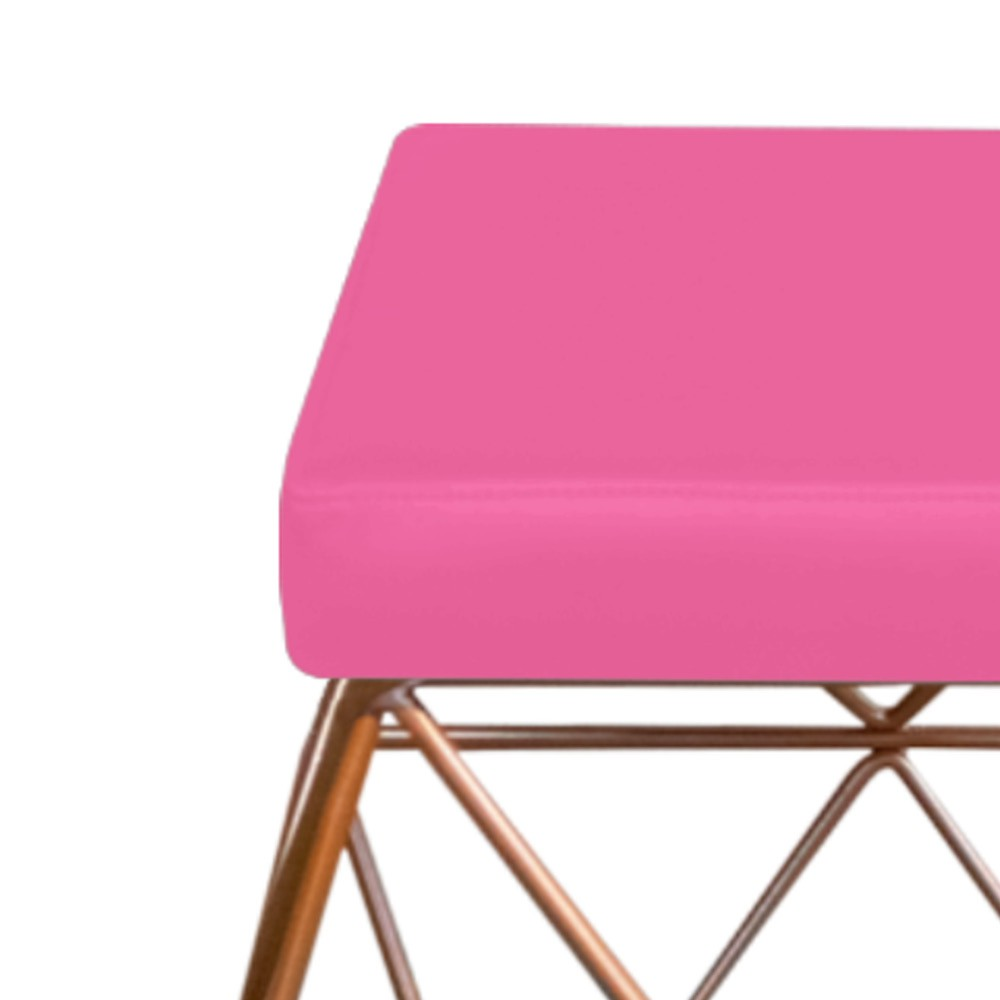Kit 04 Puffs Quadrado Aramado Elsa Corano Pink - Doce Sonho Móveis