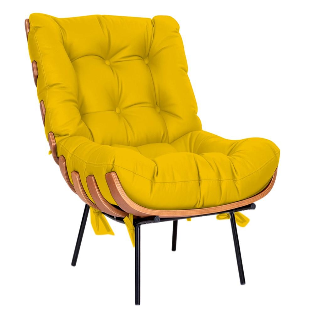 Kit Poltrona e Puff Costela Base Fixa Corano Amarelo - Doce Sonho Móveis
