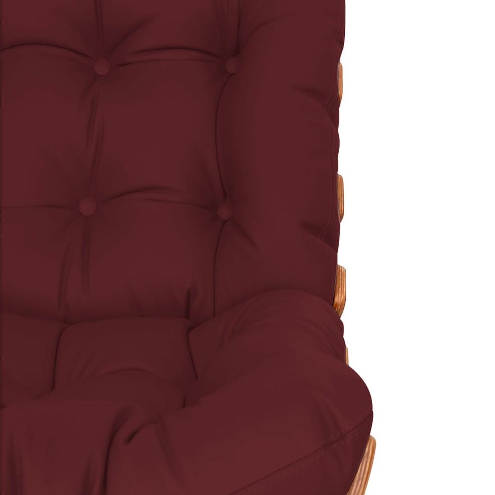 Kit Poltrona e Puff Costela Base Fixa Corano Bordô - Doce Sonho Móveis