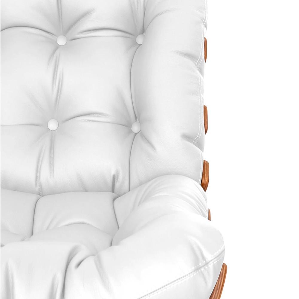 Kit Poltrona e Puff Costela Base Fixa Corano Branco - Doce Sonho Móveis