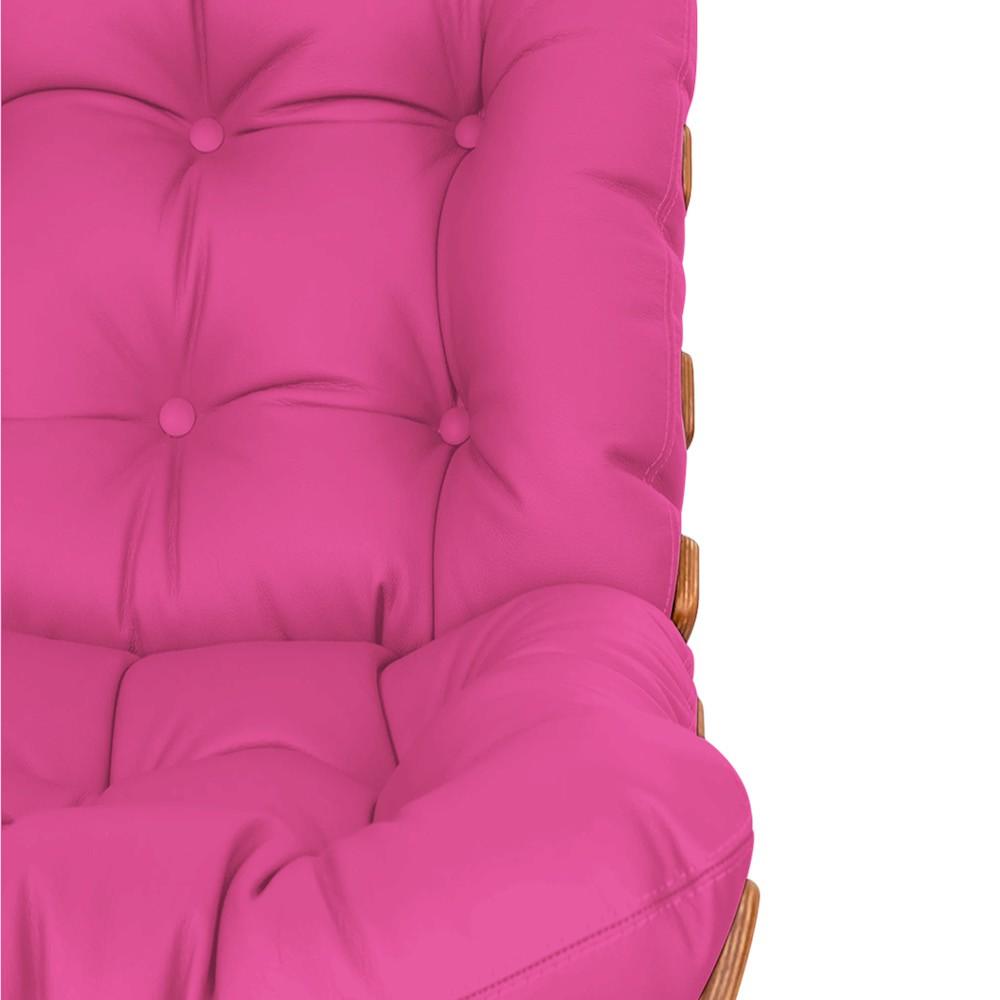 Kit Poltrona e Puff Costela Base Fixa Corano Pink - Doce Sonho Móveis