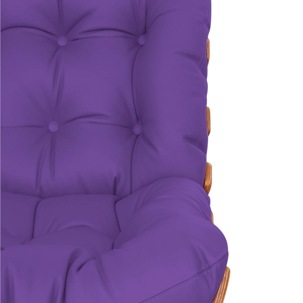 Kit Poltrona e Puff Costela Base Fixa Corano Roxo - Doce Sonho Móveis