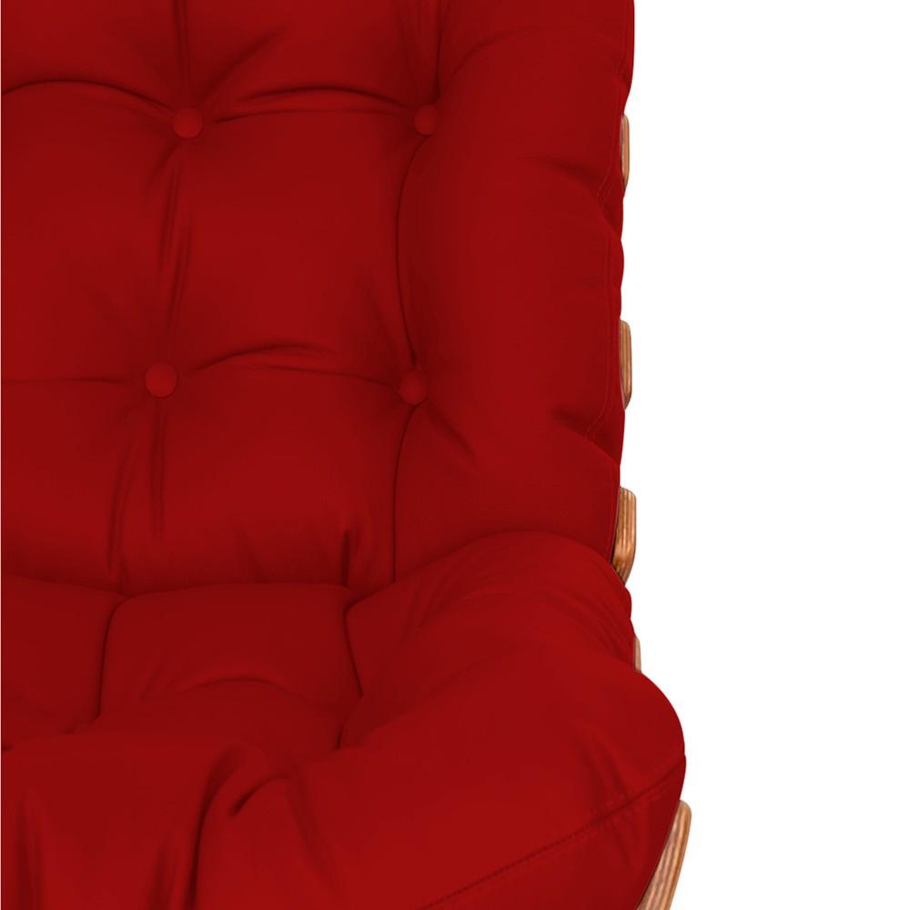 Kit Poltrona e Puff Costela Base Fixa Corano Vermelho - Doce Sonho Móveis