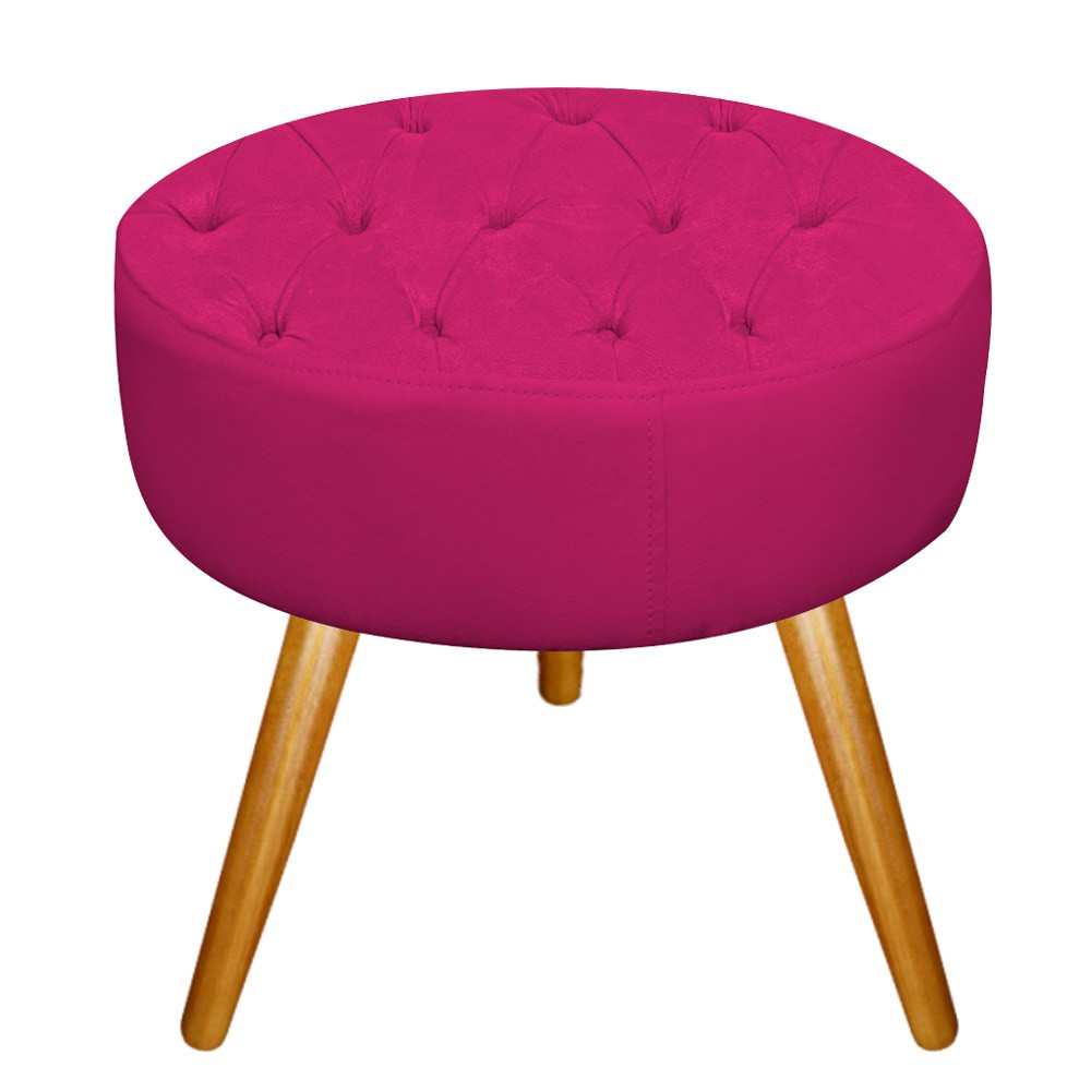 kit Poltrona e Puff Fernanda Palito Mel Suede Pink - Doce Sonho Móveis