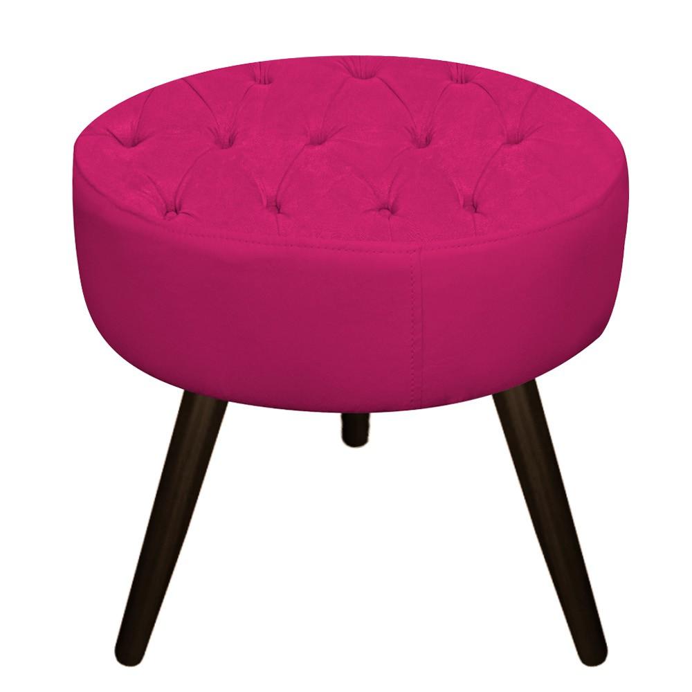 kit Poltrona e Puff Fernanda Palito Tabaco Suede Pink - Doce Sonho Móveis