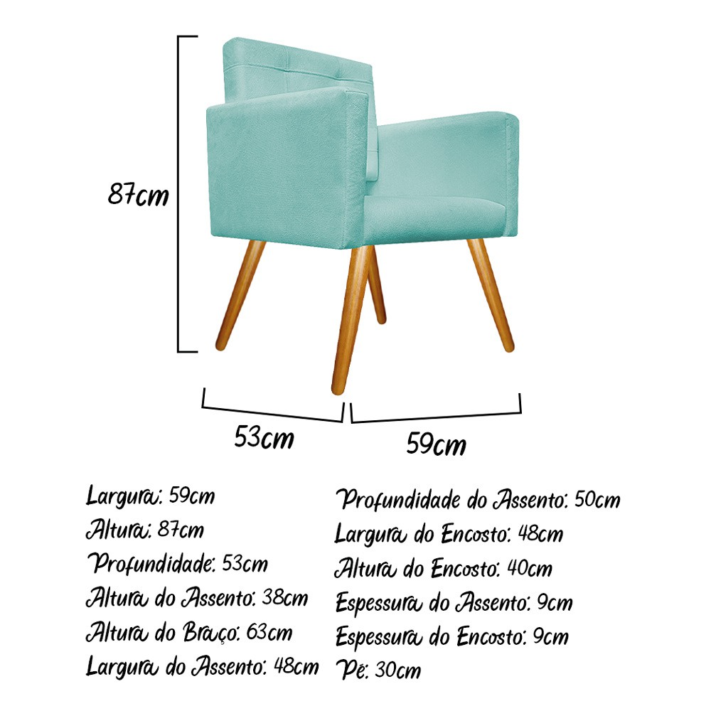 Kit Poltrona Gênesis e Puff Sofia Palito Mel Suede Azul Tiffany - Doce Sonho Móveis