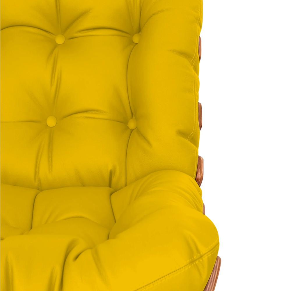 Poltrona Decorativa Costela Base Fixa Corano Amarelo - Doce Sonho Móveis