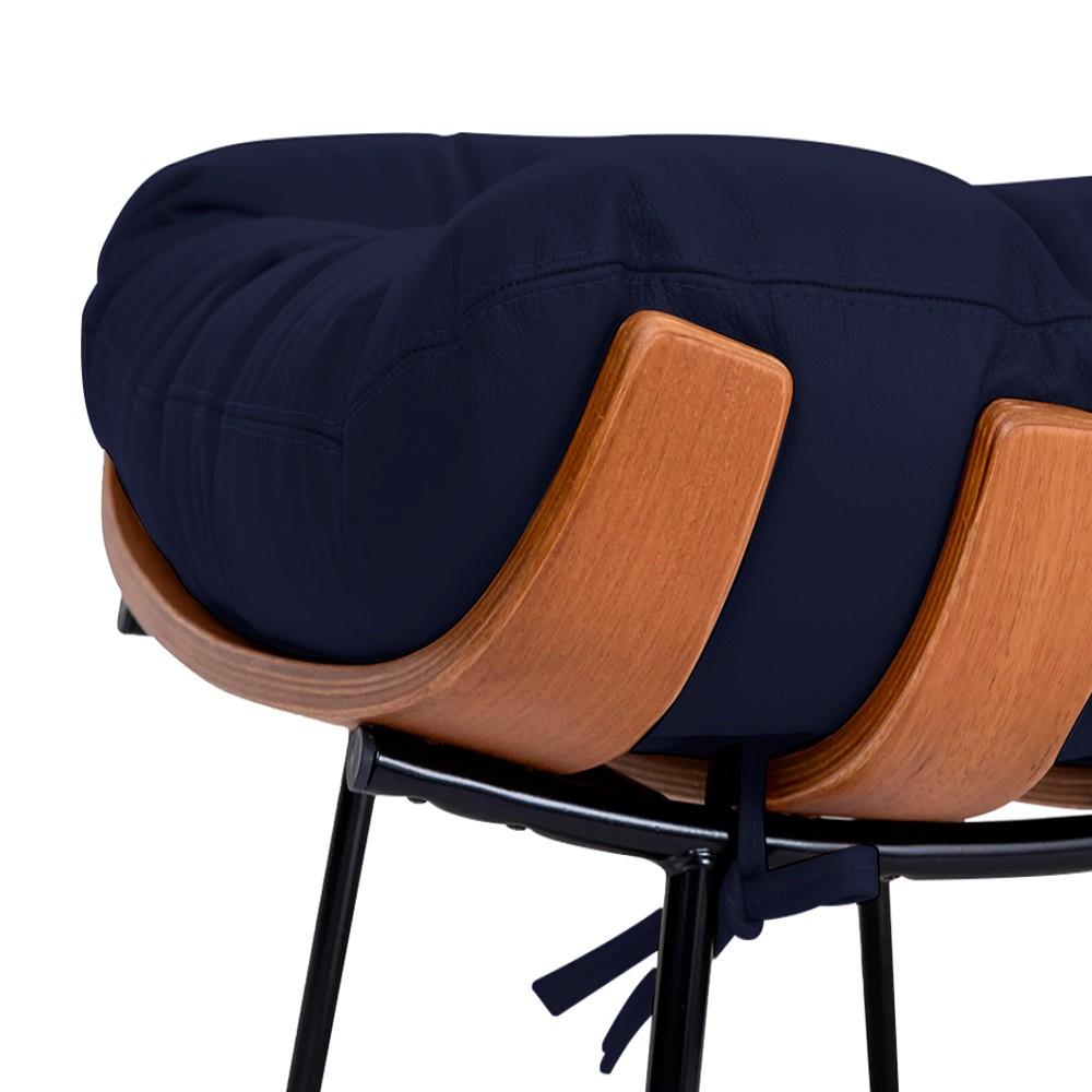 Poltrona Decorativa Costela Base Fixa Corano Azul Marinho - Doce Sonho Móveis