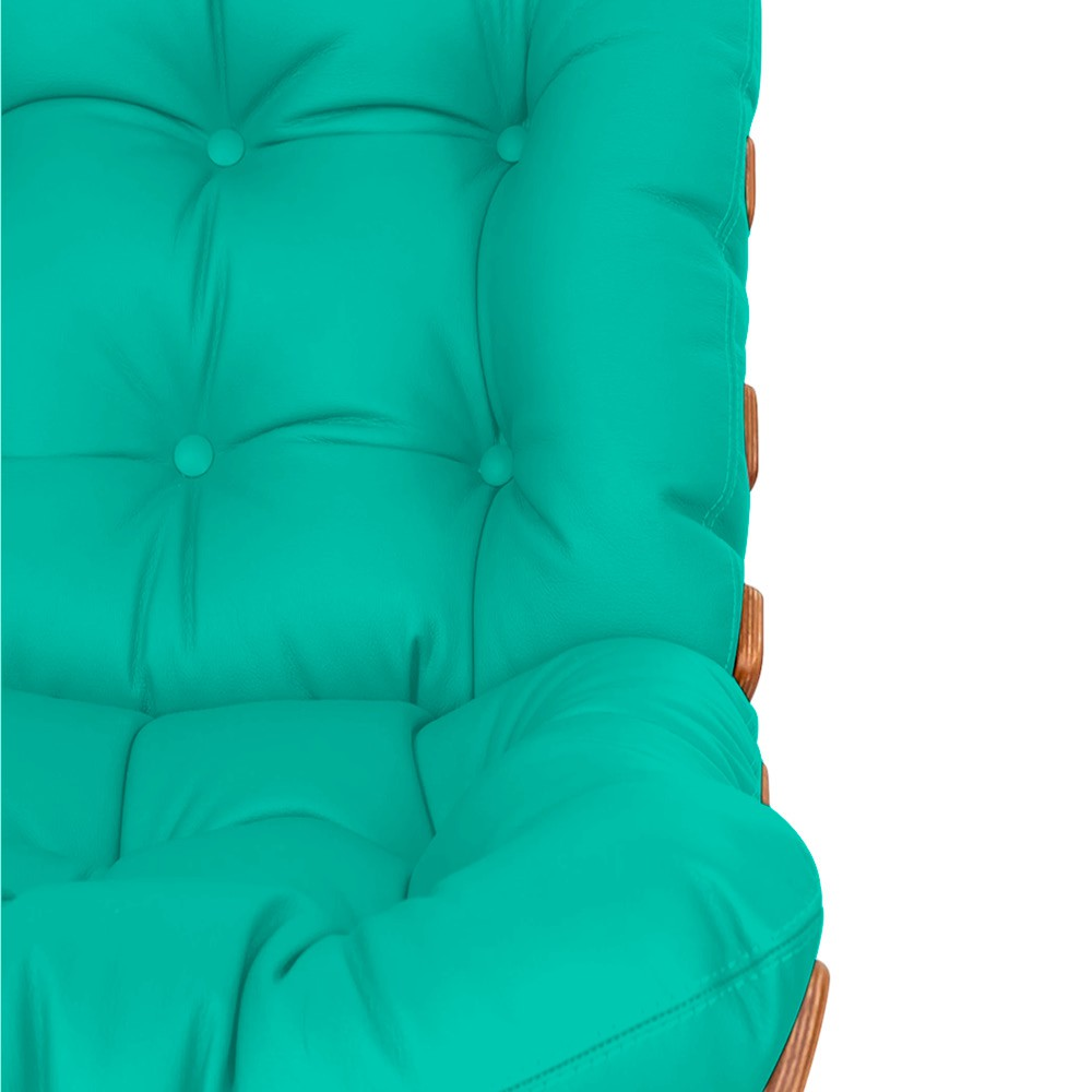 Poltrona Decorativa Costela Base Fixa Corano Azul Turquesa - Doce Sonho Móveis