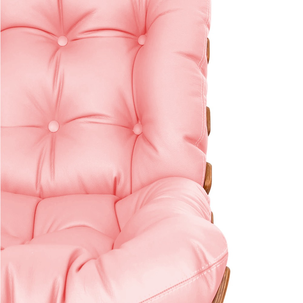 Poltrona Decorativa Costela Base Fixa Corano Rosa Bebê - Doce Sonho Móveis