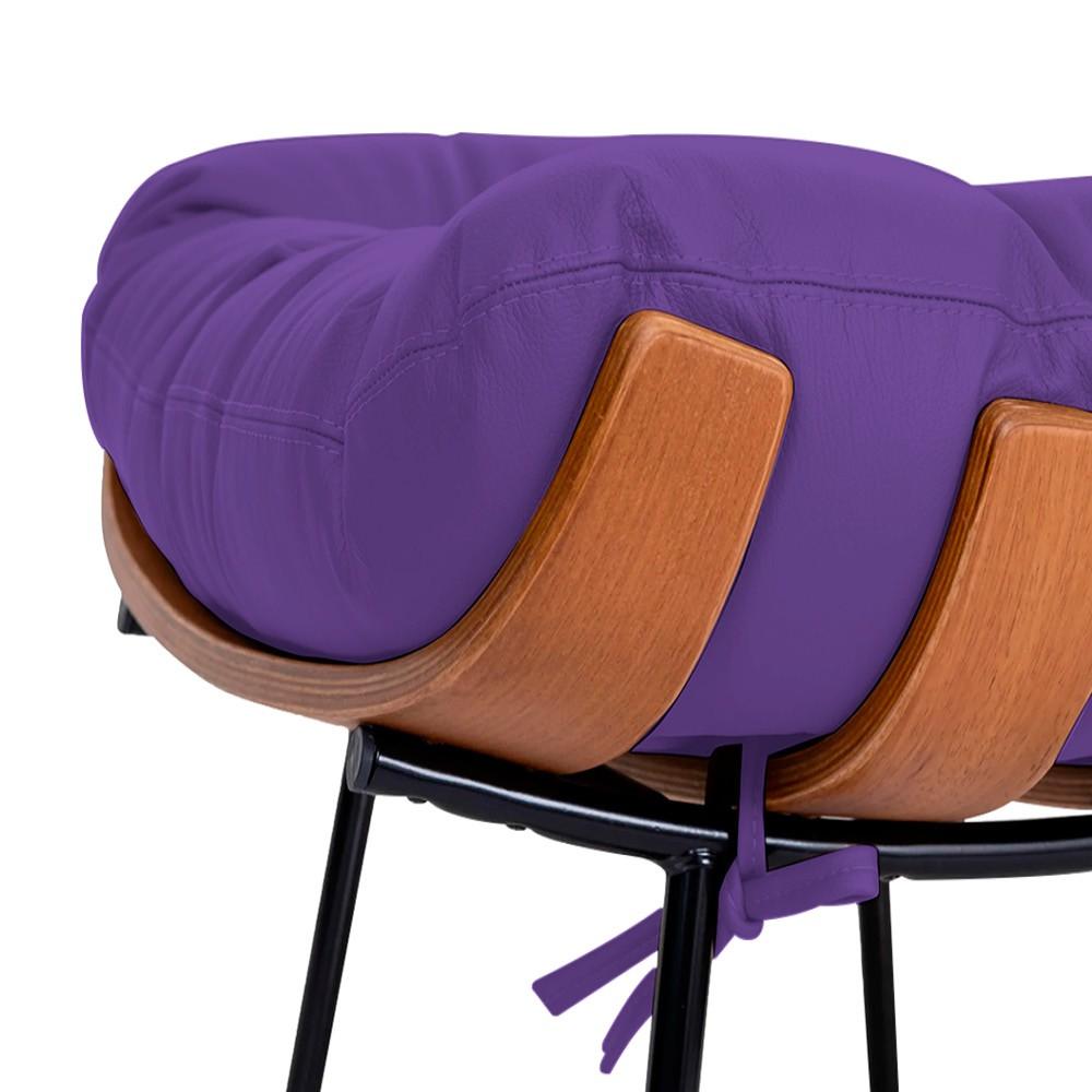 Poltrona Decorativa Costela Base Fixa Corano Roxo - Doce Sonho Móveis