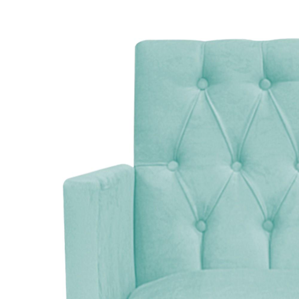 Poltrona Fernanda Pés Palito Mel Suede Azul Tiffany - Doce Sonho Móveis