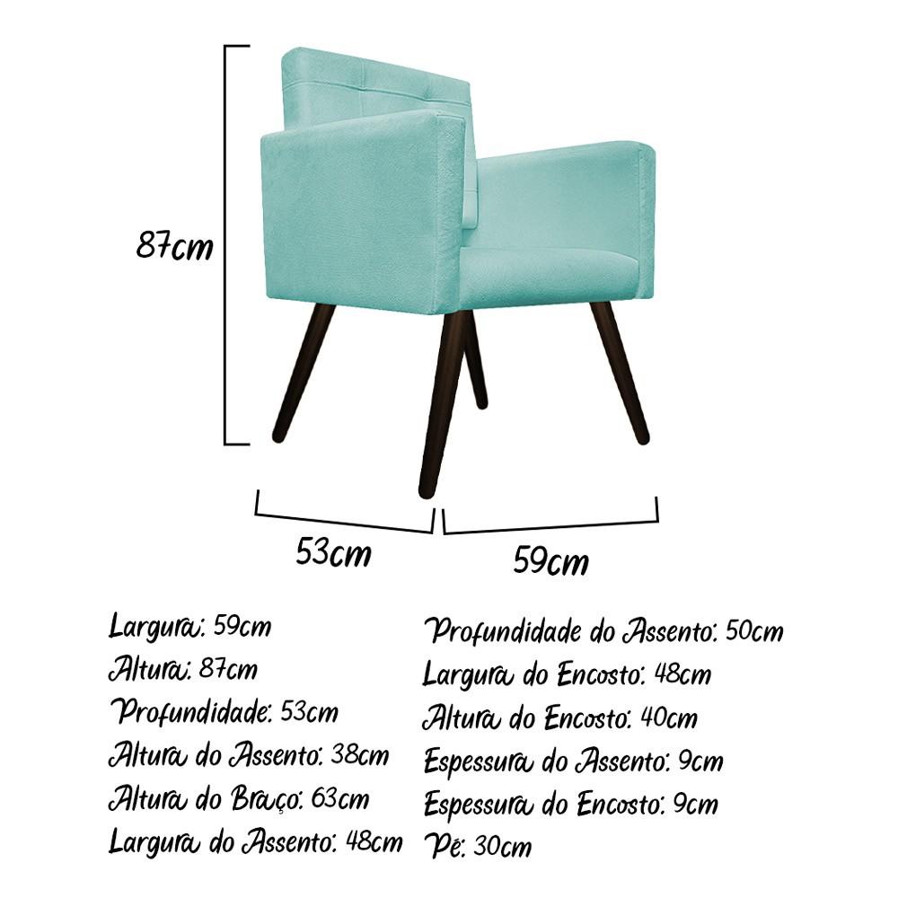 Poltrona Gênesis Pés Palito Tabaco Suede Azul Tiffany - Doce Sonho Móveis