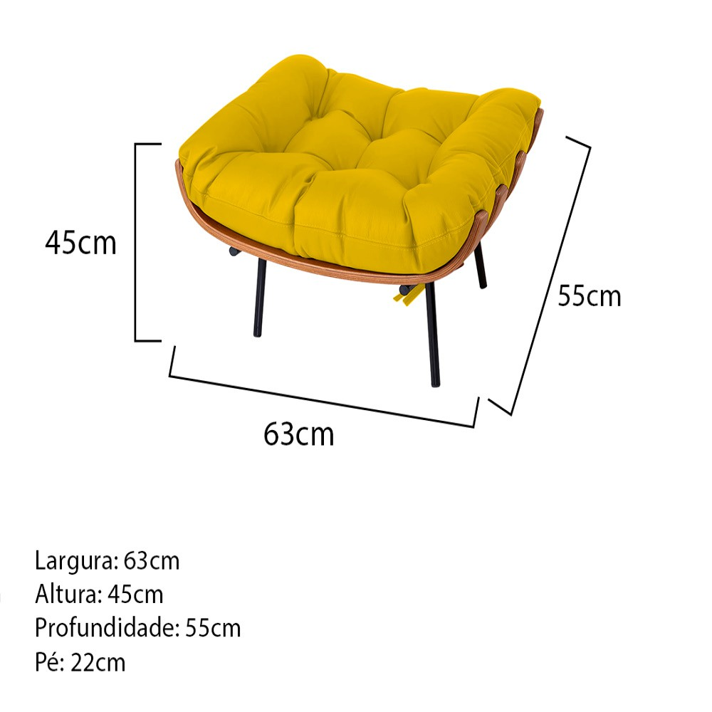 Puff Decorativo Costela Base Fixa Corano Amarelo - Doce Sonho Móveis