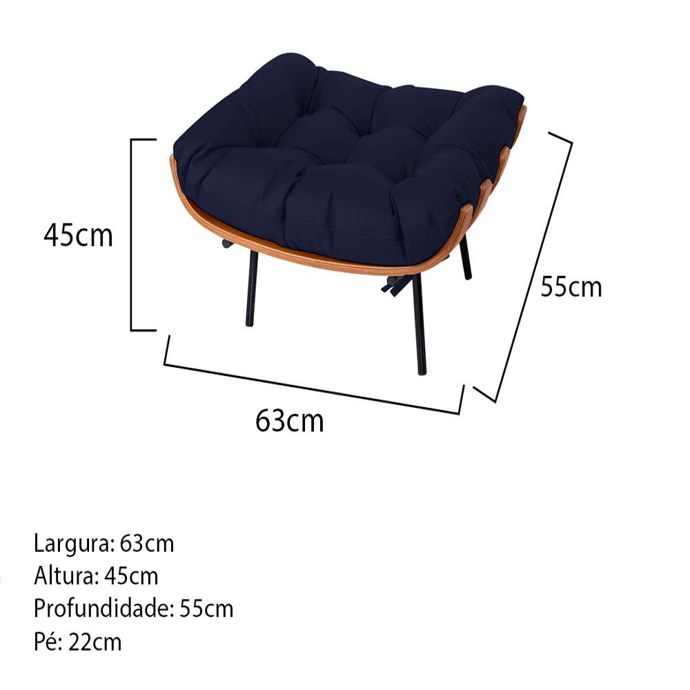 Puff Decorativo Costela Base Fixa Corano Azul Marinho - Doce Sonho Móveis