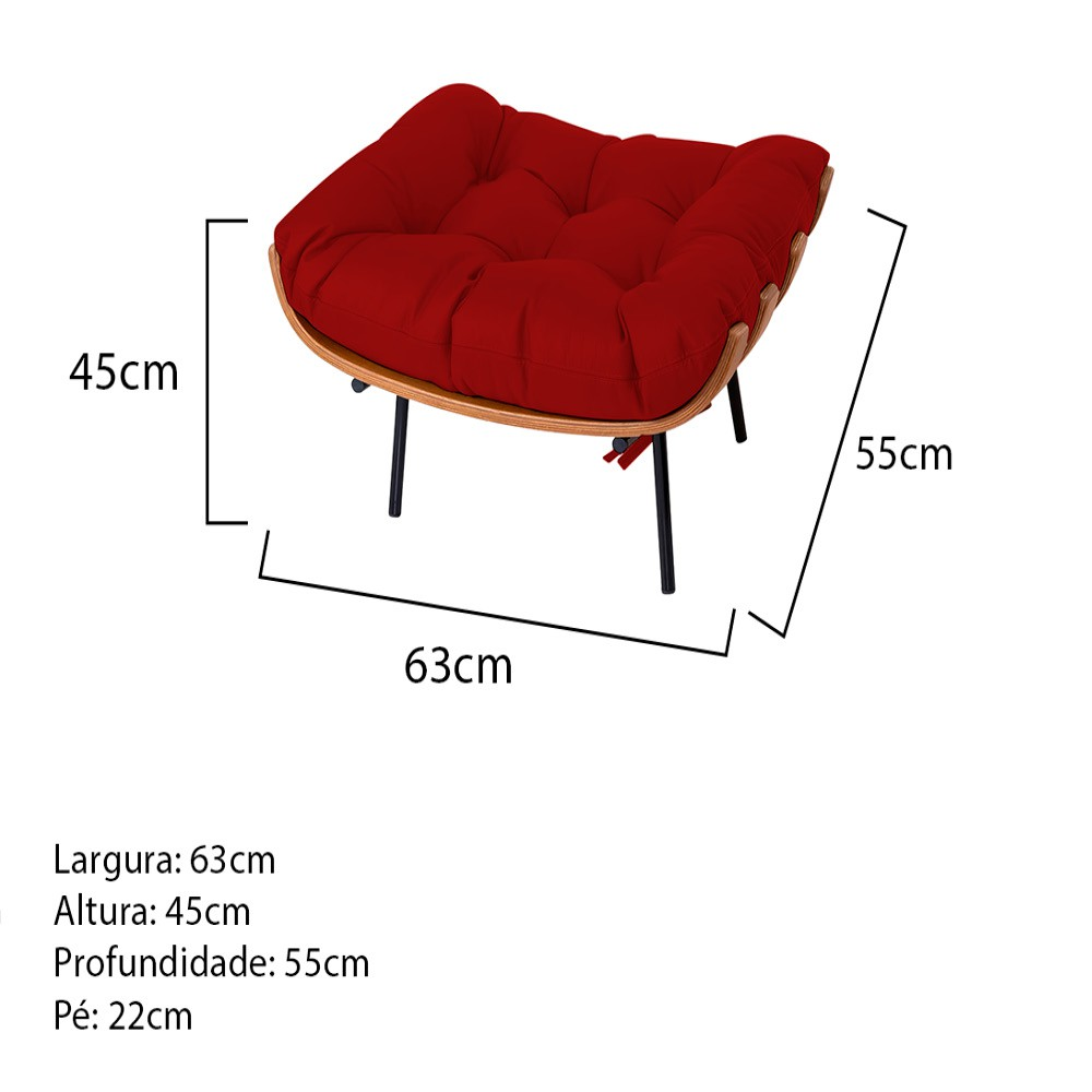 Puff Decorativo Costela Base Fixa Corano Vermelho - Doce Sonho Móveis